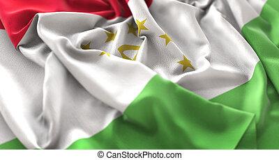 Tajikistan Flag Ruffled Beautifully Waving Macro Close-Up...