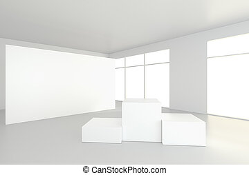 empty white room with a pedestal for presentation. 3d rendering