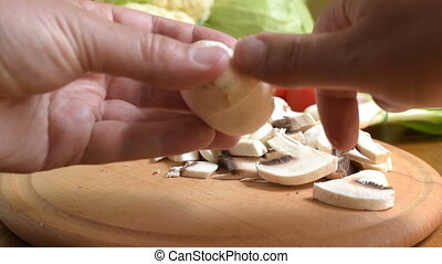 Cooking cleaning mushrooms - Cooking. cleaning fresh...