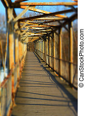 old metal bridge, perspective view