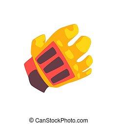 Orange goalkeeper glove cartoon vector Illustration isolated...