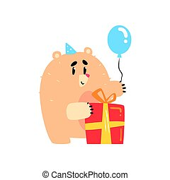 Lovely cartoon bear in a blue party hat holding blue balloon and red gift box Happy Birthday colorful vector Illustration