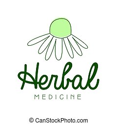 Herbal medicine logo symbol vector Illustration