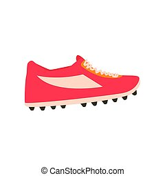 Red spiked football shoe cartoon vector Illustration