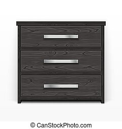 Wooden Chest of Drawers Black - Wooden chest of drawers...