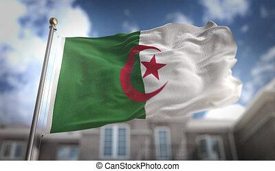 Algeria Flag 3D Rendering on Blue Sky Building Background
