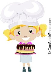 Little Girl as Pastry Chef holding a Cake - Vector...