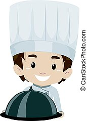 Chef Boy Holding a Food Cloche - Vector Illustration of Chef...