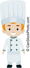 Boy wearing a Chef Uniform - Vector Illustration of Boy...