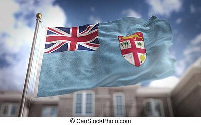 Fiji Flag 3D Rendering on Blue Sky Building Background