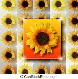 Sunflowers - Stylized vivid abstract futuristic sunflower...