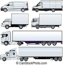 Vector trucks template isolated on white - Vector trucks...