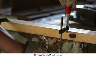 profession, people, carpentry, woodwork and people concept -...