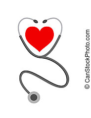 Medical background - Stethoscope and heart on white