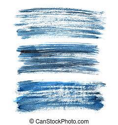 Set of cyan blue brush strokes - Set of cyan blue ink brush...