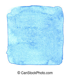 Blue uneven watercolor square isolated over the white...