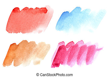 Set of colorful watercolor brush strokes isolated on the...