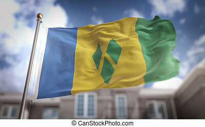 Saint Vincent and the Grenadines Flag 3D Rendering on Blue...
