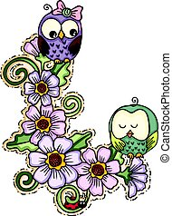 Cute couple owls with flowers