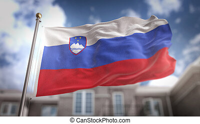 Slovenia Flag 3D Rendering on Blue Sky Building Background