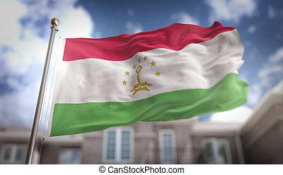 Tajikistan Flag 3D Rendering on Blue Sky Building Background