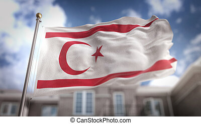 Northern Cyprus Flag 3D Rendering on Blue Sky Building...