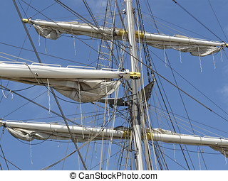 The rigging of the brig Mercedes from Amsterdam in the port...