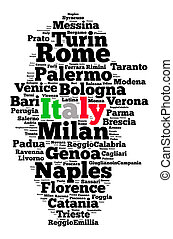 Localities in Italy word cloud concept