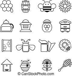 Apiary honey icons set, outline style - Apiary honey icons...