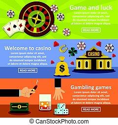 Casino banner horizontal set, flat style - Casino banner...