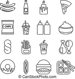Fast food icons set, outline style - Fast food icons set....