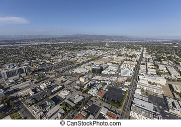 Los Angeles Aerial View of North Hollywood Neighborhood