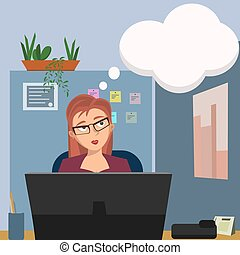 woman with dreaming bubble at office cubicle - funny cartoon...