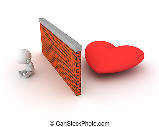3D Character can't find love. Image conveying the idea of...