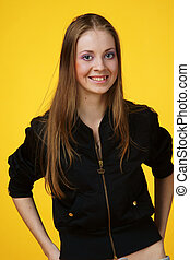 hip-hop girl portrait - portrait of young sporty teenager...