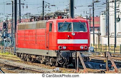 German locomotive at Strasbourg Central Station, France -...