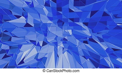 Blue low poly shining surface as fantastic relief. Blue polygonal geometric shining environment or pulsating background in cartoon low poly popular modern stylish 3D design.