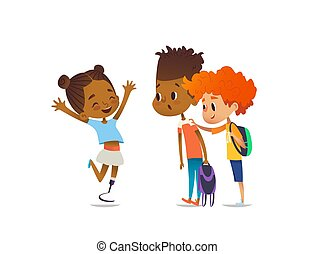 Cheerful amputee girl happily greet her school friends and shows them new artificial leg, two boys are surprised and happy. Welcome back concept. Vector illustration for website, social advertisement
