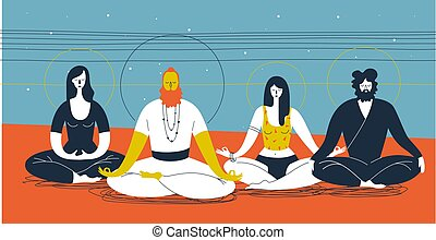 Group of people sitting in yoga posture and meditating against abstract blue and orange background with horizontal lines and circles. Concept of collective spiritual practice. Vector illustration
