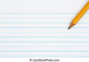 Retro lined paper with a pencil with copy space for your...