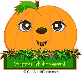 Happy Halloween Pumpkin on a Box