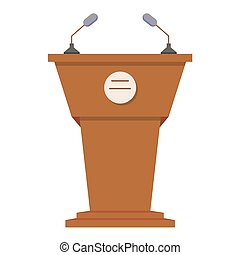 Tribune or rostrum flat icon isolated on white background