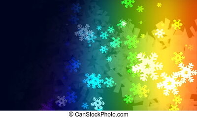 Rainbow and White Snowflake - Computer-rendered animation...