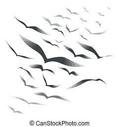 Flock of birds on a white background - Set birds in the sky,...