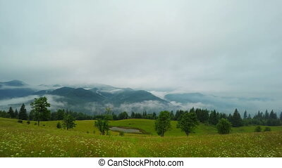 Misty Morning in Mountains. - Fantastic Mountain Landscape...
