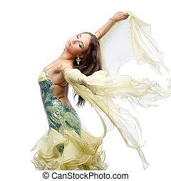 dancing woman - studio photo of young beautiful dancing...