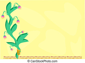 Frame of Flowers and Bamboo