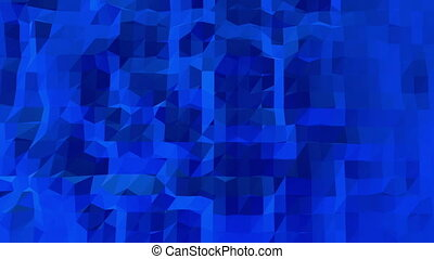 Blue low poly shining surface as geometric mesh. Blue polygonal geometric shining environment or pulsating background in cartoon low poly popular modern stylish 3D design.