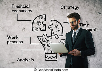 Financial resources concept - Businessman using laptop on...