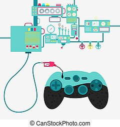 Gamepad and oil production - Machinery of factory refining...